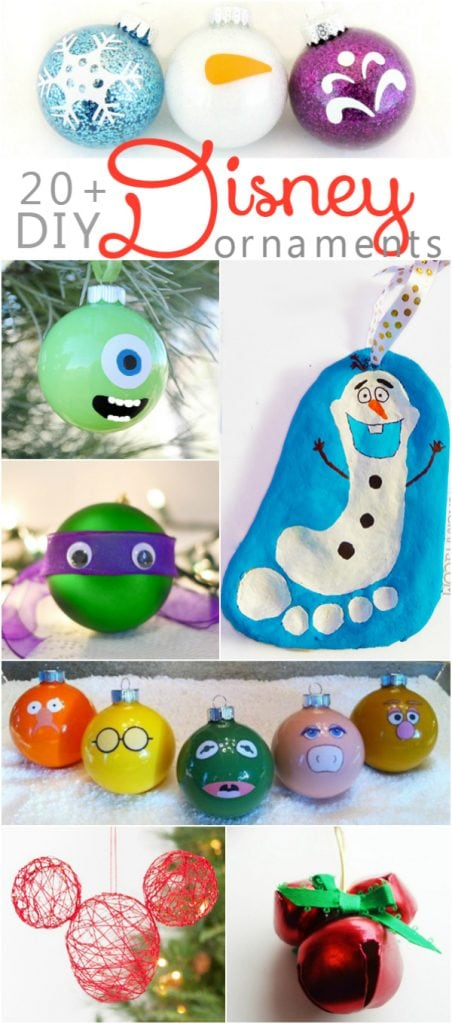 20+ DIY Disney ornaments | Lots of fun kids craft ideas for your Christmas decorating! Frozen ornaments, Ninja Turtle ornaments, Mickey Mouse ornaments and Disney princess ornament ideas! So fun!