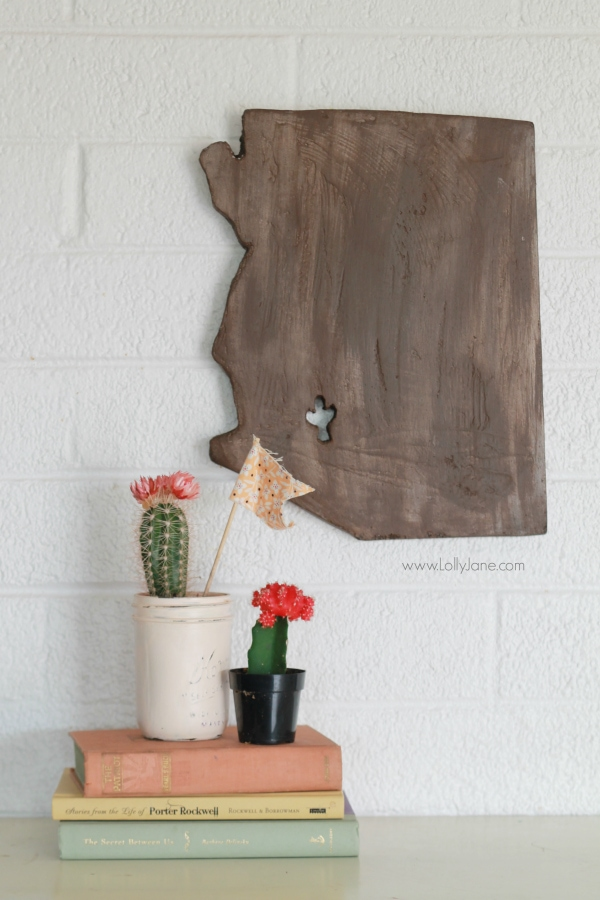 DIY | How to turn foam sheets into faux wood state art! Fun handmade gift idea for the hard to shop for person! Cute home decor idea!
