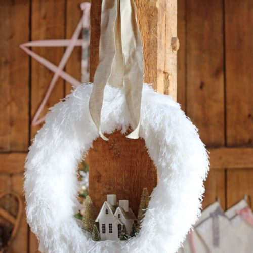 Adorable village holiday wreath