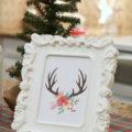 FREE Christmas antler print   Click through for Christmas kitchen decor ideas!