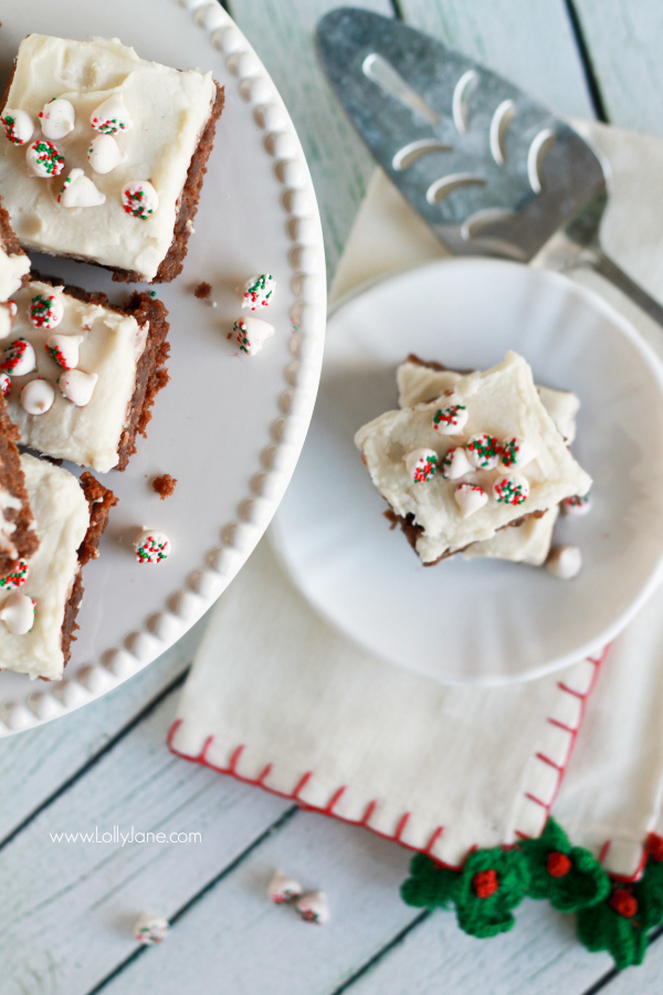 Easy frosted peppermint brownies recipe, so yummy and quick to make!