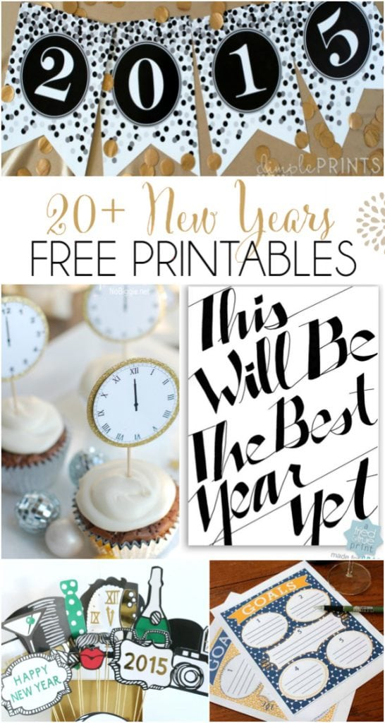 20+ New Years free printables! From budget planning to party decor, this is your one stop FREE printable shop!
