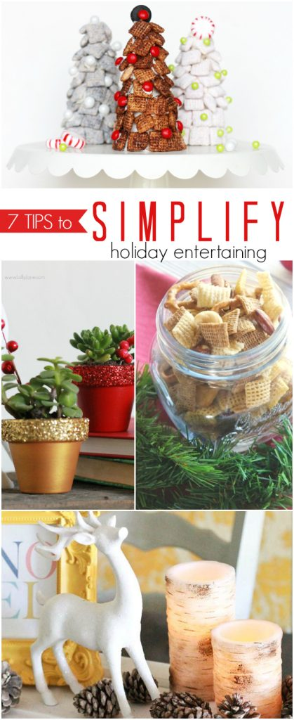 7 tips to SIMPLIFY holiday entertaining! Plus a cute kid craft or Christmas treat idea, Chex mix holiday trees!