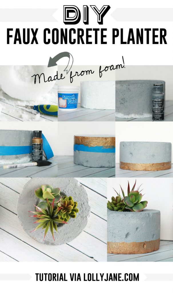 DIY Faux Concrete Succulent Planter. So cool that it's made from styrofoam!!! Gotta try this!