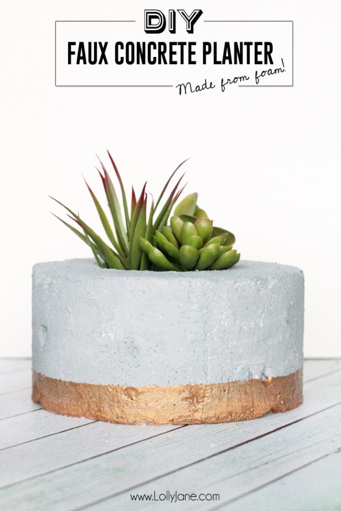 DIY Faux Concrete Succulent Planter.... so cool that it