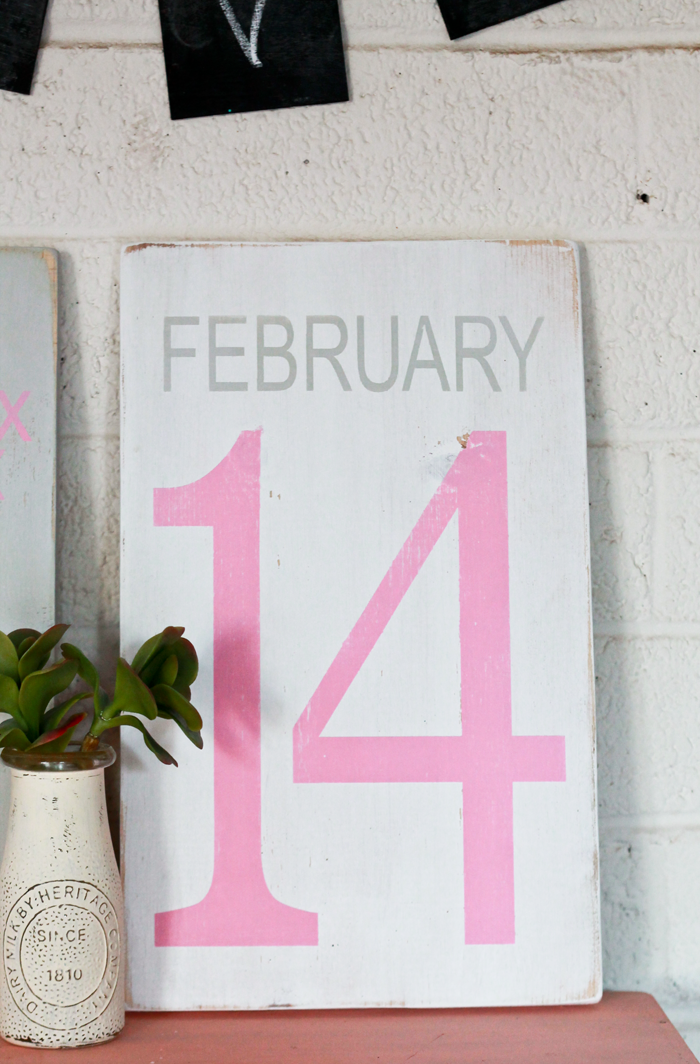 "Pretty hand painted Valentine's Day sign! ""February 14"""