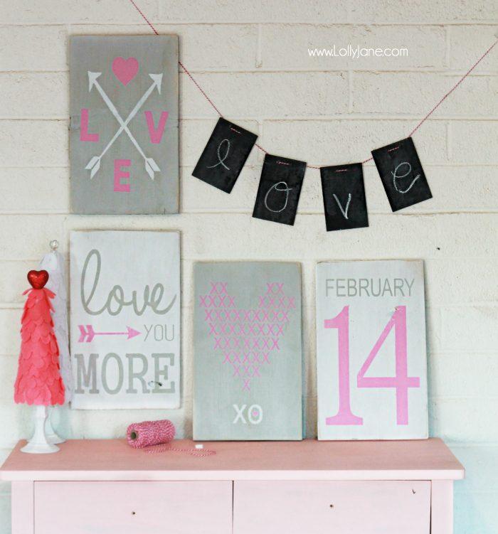 Pretty hand painted Valentine's Day signs via lollyjane.com