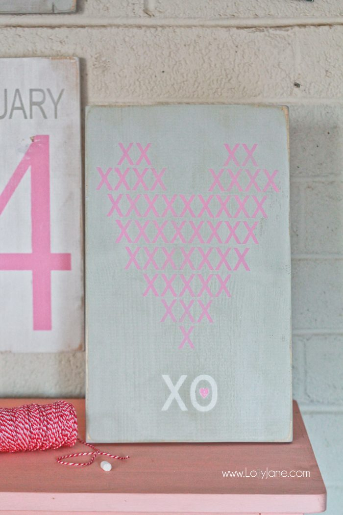 "Pretty hand painted Valentine's Day sign! ""Cross-stitch XO"""