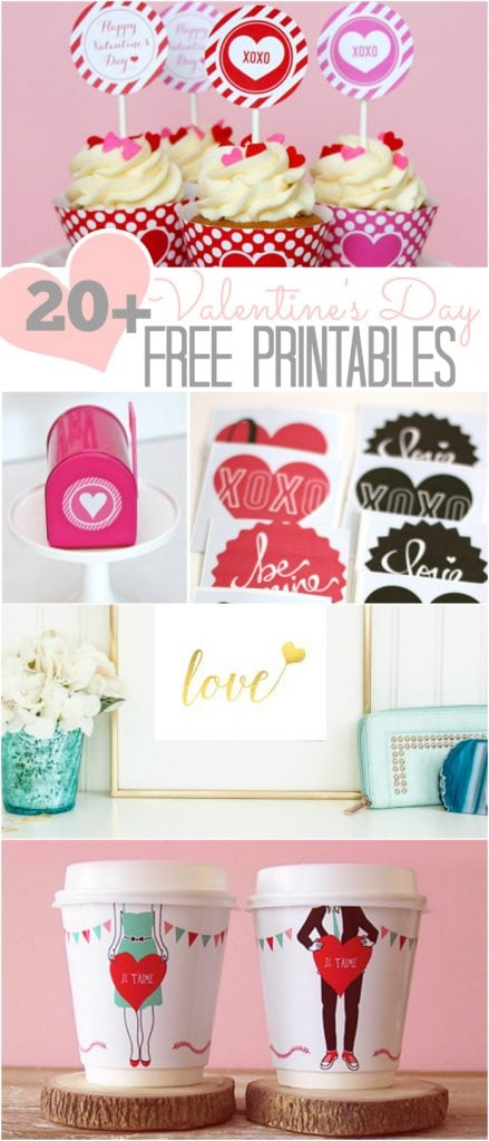 20+ CUTE Valentine's Day FREE printables!!  Great Valentine's Day decor ideas and cute Valentine gift ideas!