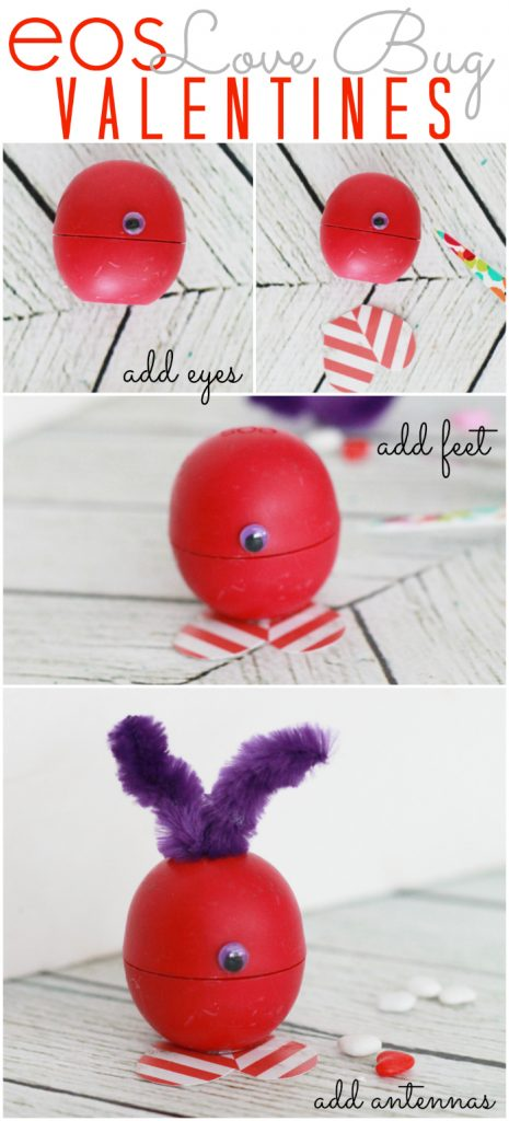EOS love bug Valentines, these are so dang cute and really easy to make! Makes a fun Valentine gift, great for kids or a cute teacher gift or fun coworker gift as well! Click through for the final product!