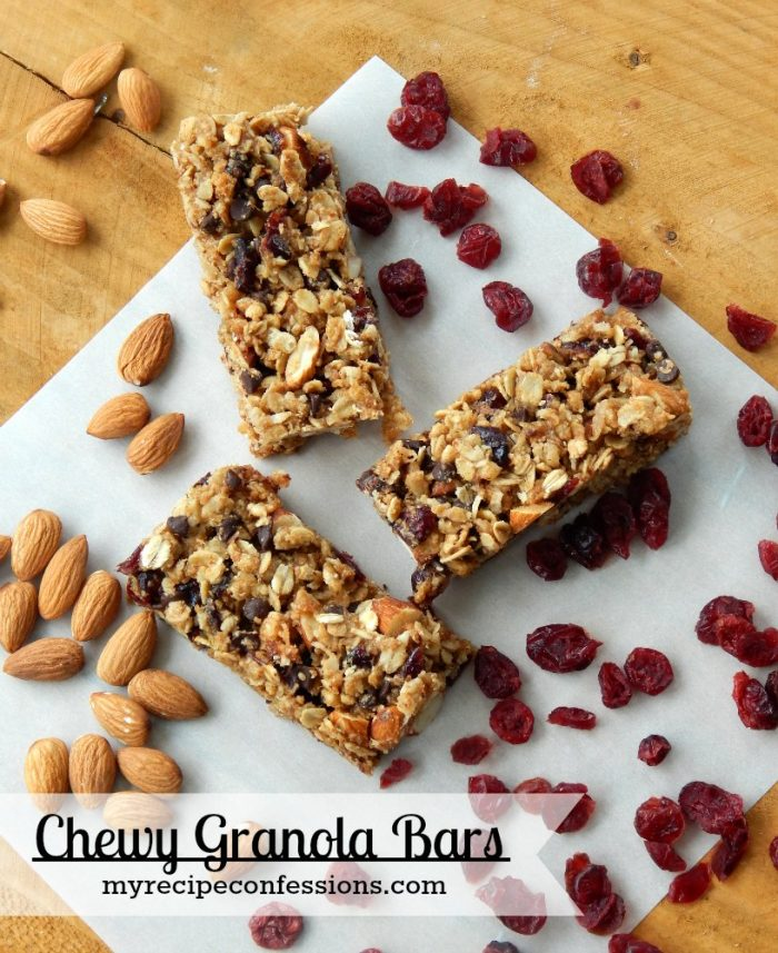 Delicious! Chewy Granola Bars from scratch via MyRecipeConfessions