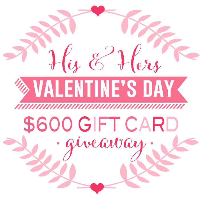 Valentine's His + Hers $600 Gift Card GIVEAWAY!! via lollyjane.com