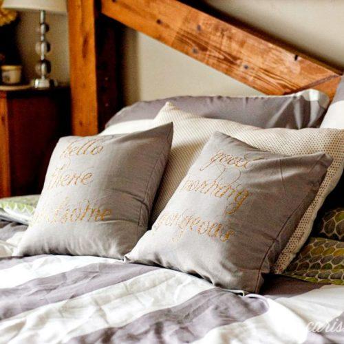 DIY No-Sew His+Her Glitter Vinyl Iron-On Pillows
