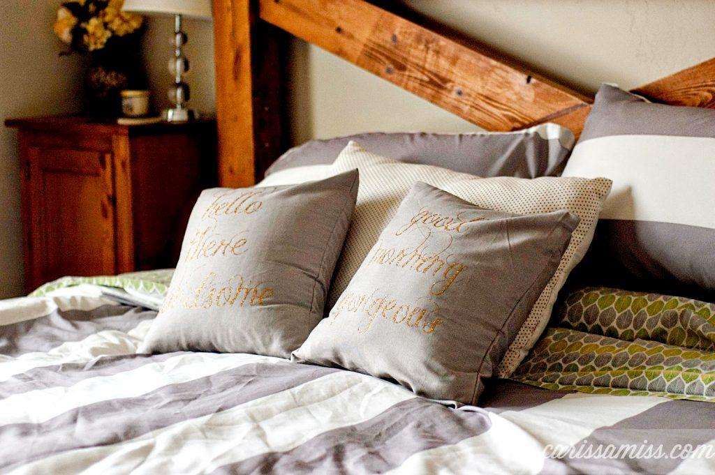 Iron-on glitter vinyl his & hers pillows