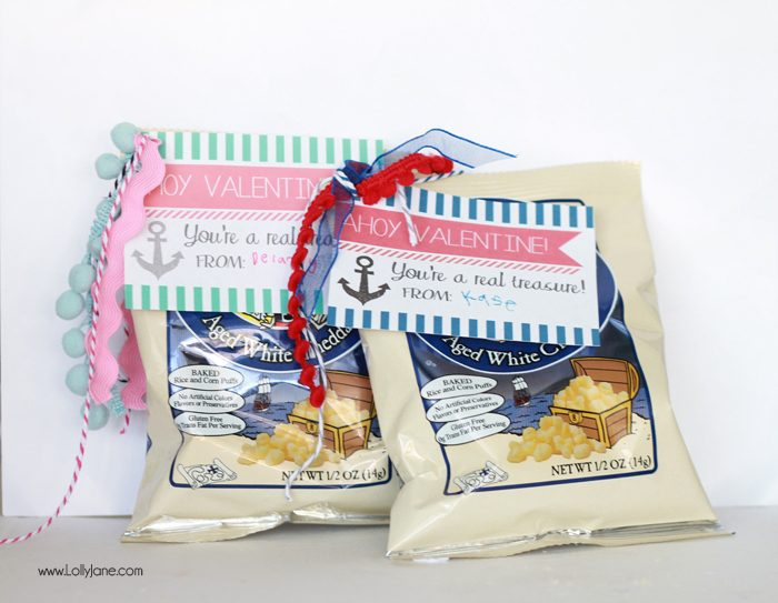 """Ahoy Valentine! You're a real treasure!"" FREE Valentine Gift Tags- just tie onto a bag of Pirate's Booty for an easy candy alternative! 