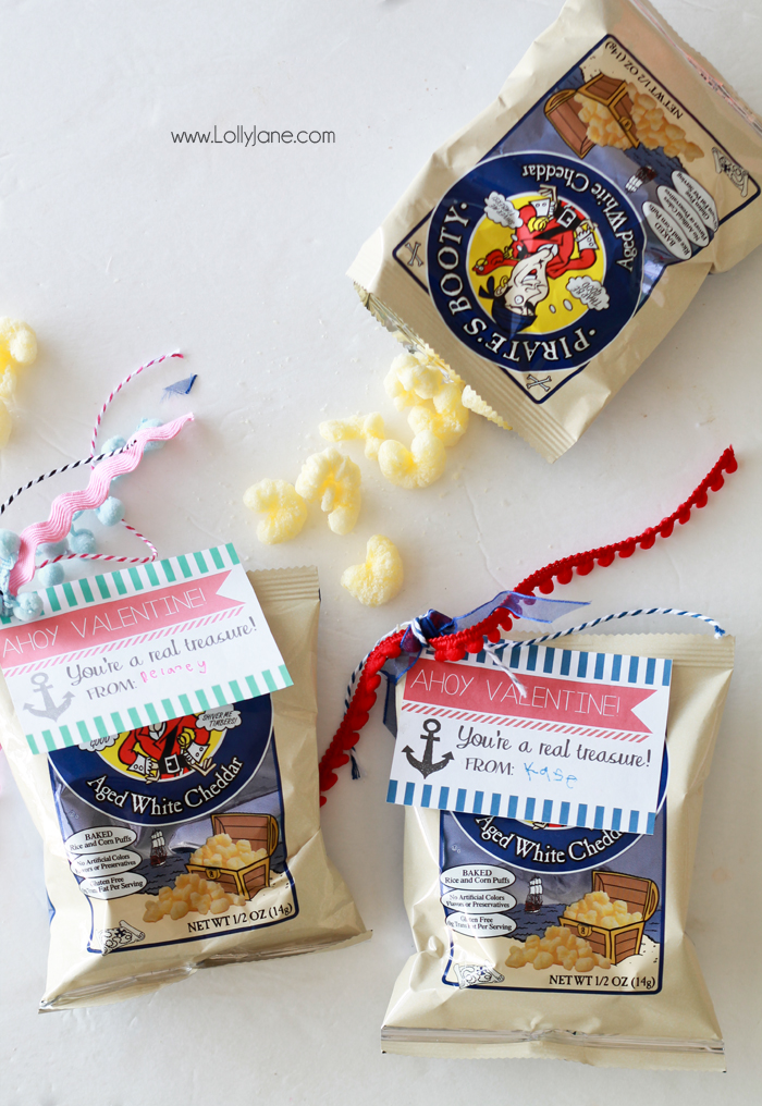 """""""Ahoy Valentine! You're a real treasure!"""" FREE Valentine Gift Tags- just tie onto a bag of Pirate's Booty for an easy candy alternative!  via lollyjane.com"""