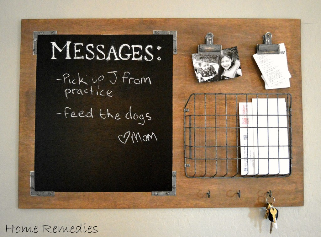 Love this industrial message board. Such a great way to get organized in one spot! Love this industrial style command center! #diy #organization #organizationhack #diycommandcenter #commandstation #messageboard