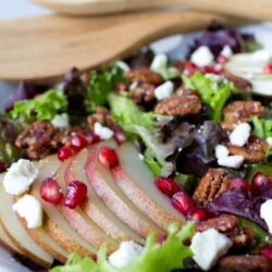 Pecan and Pear Salad with Pomegranate Seeds