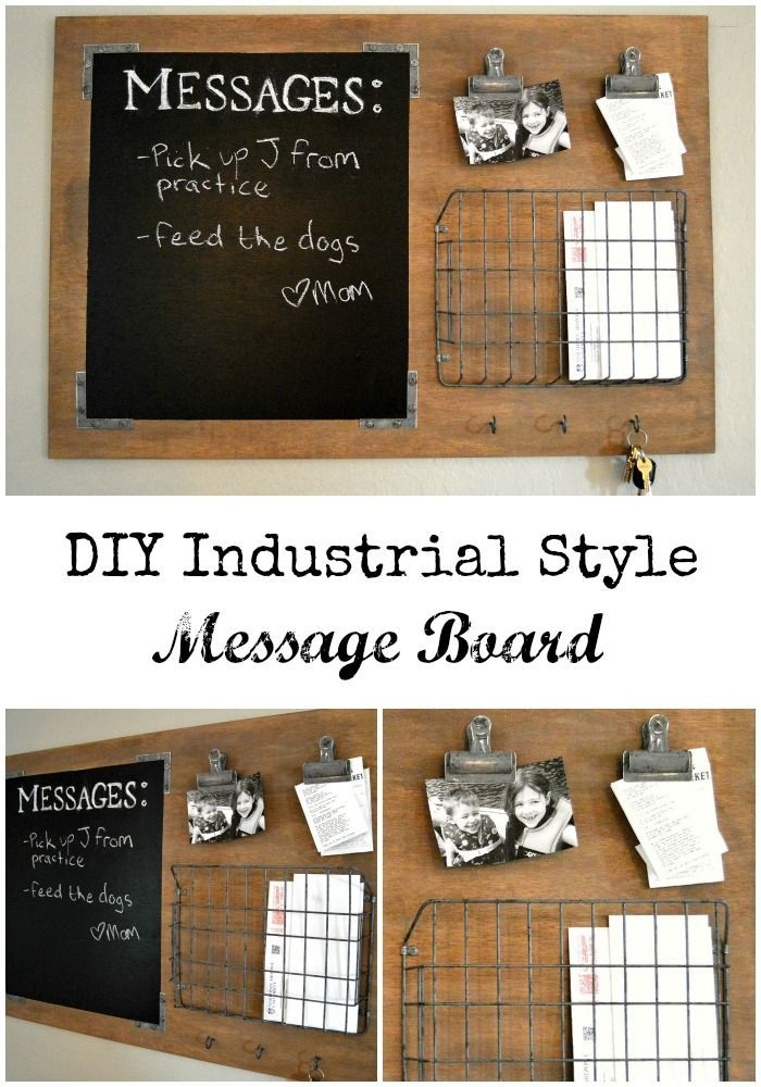 Looking to organize the whole family? This DIY Industrial Style Message Board is a breeze to make, to customize PLUS it has all the command center must haves, in style! #commandcenter #commandstation #messageboard #diy #diycommandcenter #diycommandstation #diymessageboard #organization