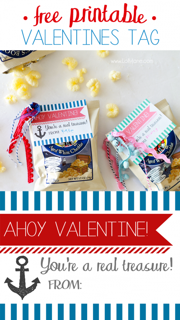 "FREE ""Ahoy Valentine"" gift tag to pair with Pirate's Booty. Tag says ""You're a real treasure!"" Perfect for non-candy treat to pass out in class!"