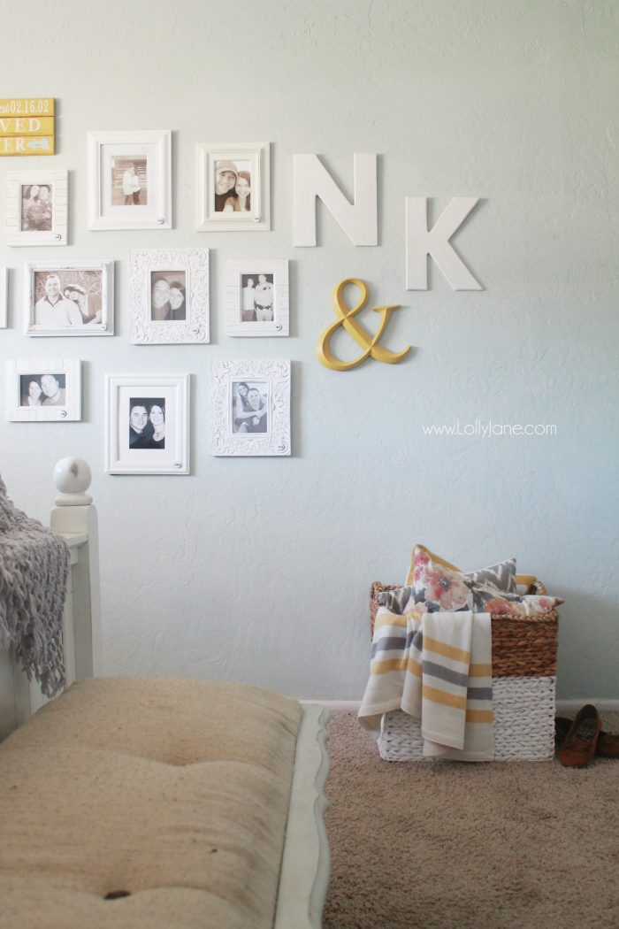 This is such a fun idea! Add a picture in your master bedroom for every year you've been together. Bonus: add the year on each frame. So fun to look back through all the years and how much you've changed in one place. Love this annual couple gallery wall idea!