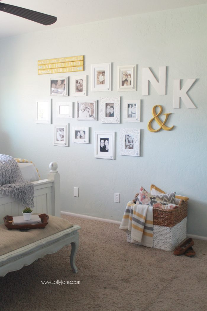 This is such a fun idea! Add a picture in your master bedroom for every year you've been together. Bonus: add the year on each frame. So fun to look back through all the years and how much you've changed in one place. Love this yearly couple gallery wall idea!