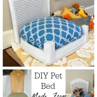 DIY pet bed made from a chair