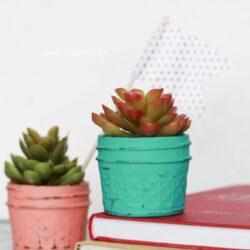 DIY painted planted plastic succulents