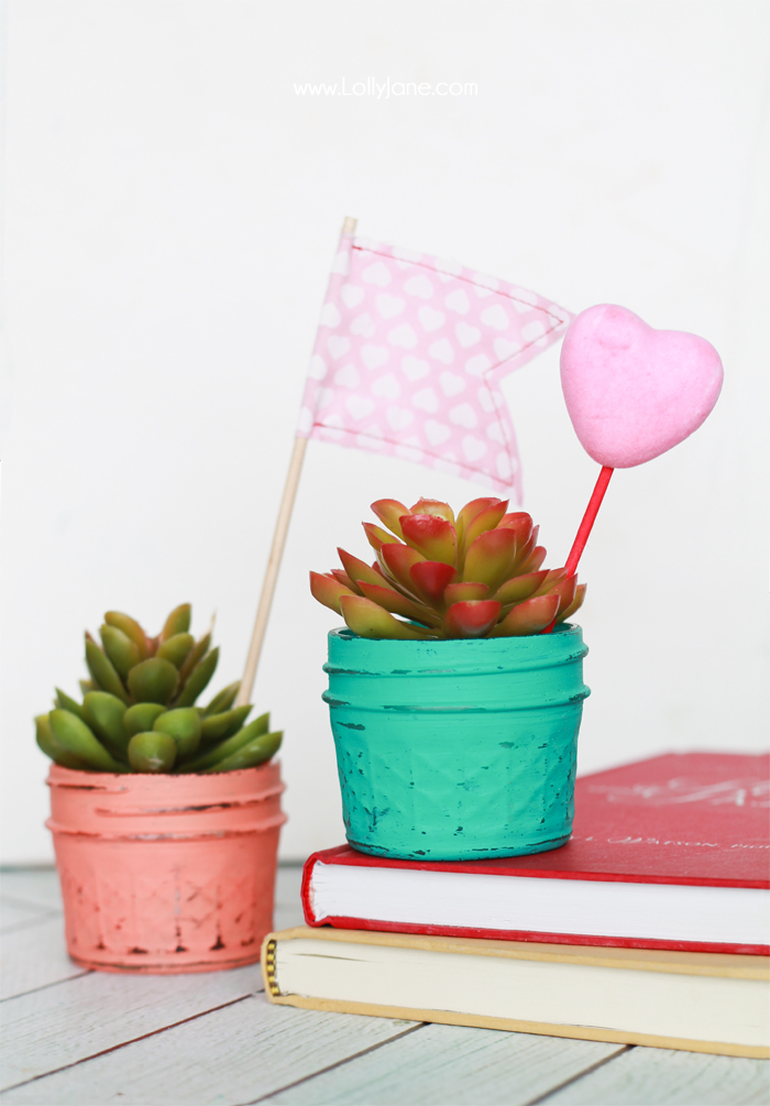 DIY Painted Planted Plastic Succulents... add a heart pick for a quick + easy teacher gift for Valentine's Day!