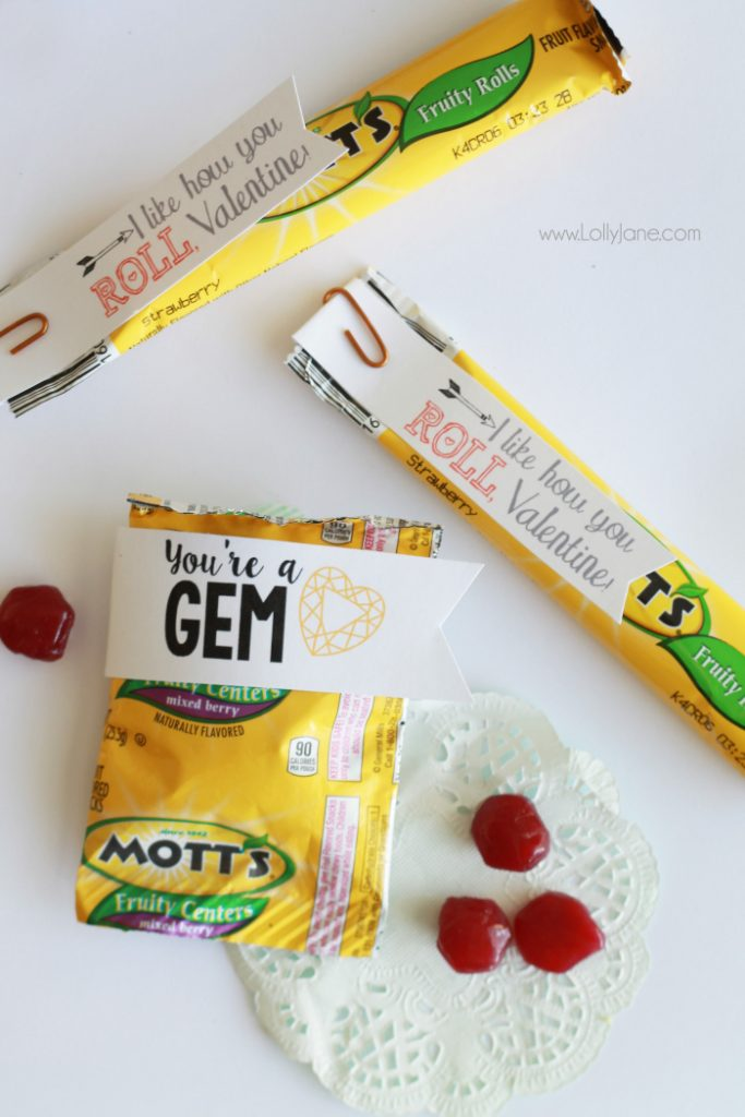 Looking for a no-candy Valentine idea? These are sweet but not as sugary as candy, yummy fruit snacks + fruit roll ups with FREE printable tags! What a fun Valentine's Day treat idea! You're a GEM and I like how you ROLL, cute!