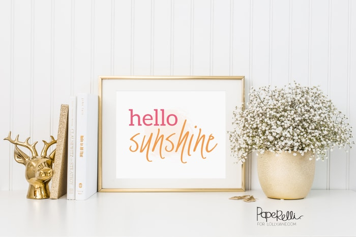 """Hello Sunshine"" print by Paperelli, perfect to display for spring, summer or year-round! FREE! Just download and display!"