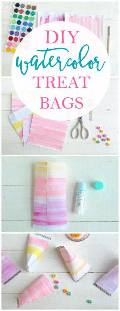 DIY watercolor treat bags, a fun Valentine's Day craft to fill with goodies!