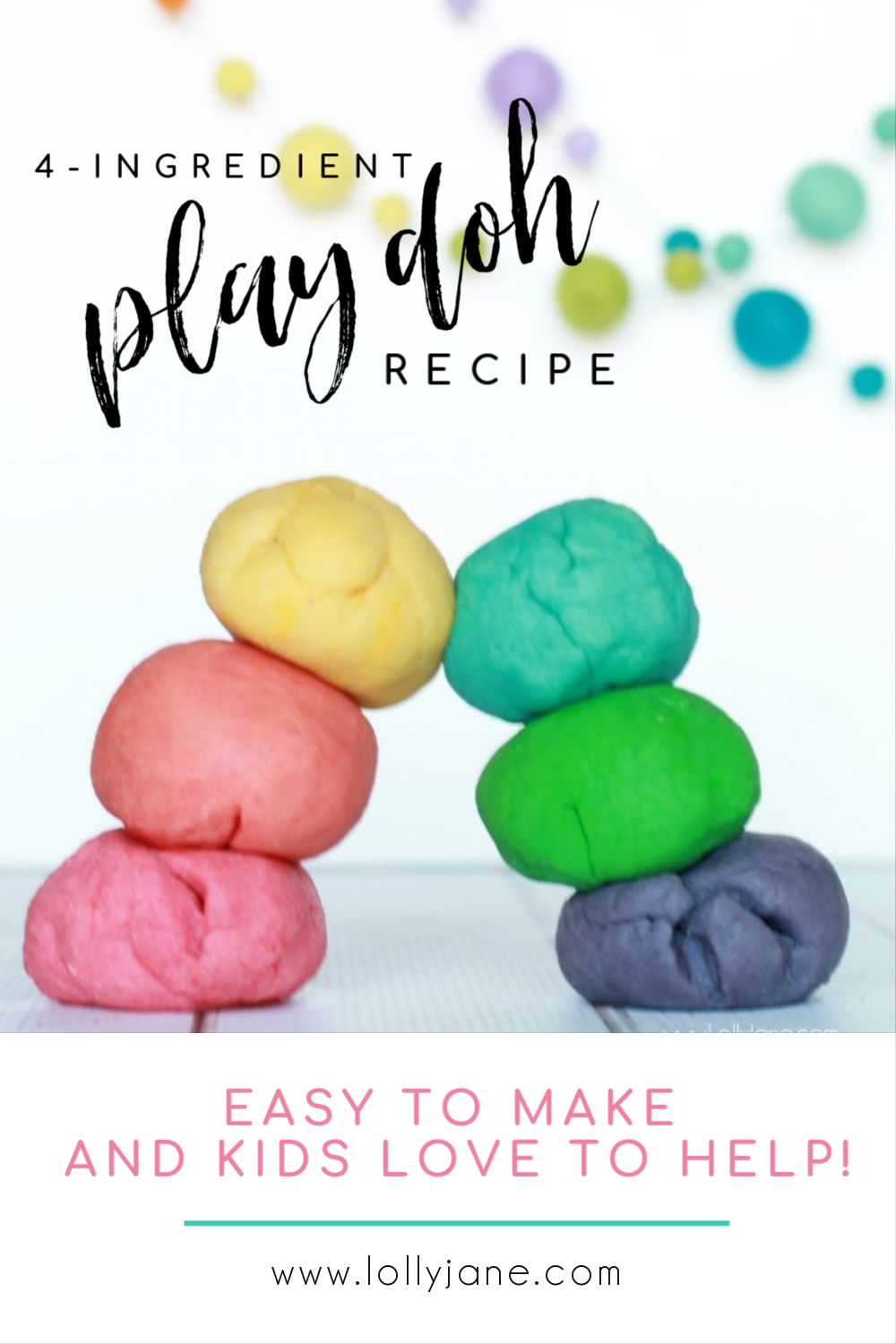 Only 4 Ingredients to make this EASY Play Doh recipe that kids LOVE to help make! #diy #kidscraft #kidscrafts #playdohrecipe #playdoughrecipe #playdoh #playdough #boredombuster