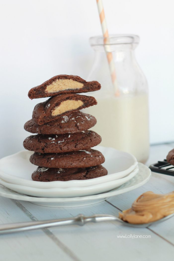 The best cookies! These peanut butter stuffed chocolate cookies are so easy to make and are so yummy! This is your go-to cookie recipe! Peanut butter fans will LOVE this!