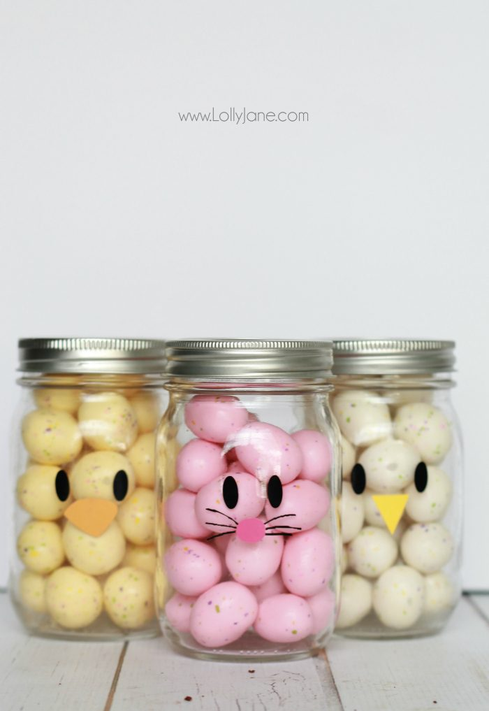 Easter mason jar craft favors adorable and easy mason jar idea apply little faces to clear mason jars and fill negle Gallery