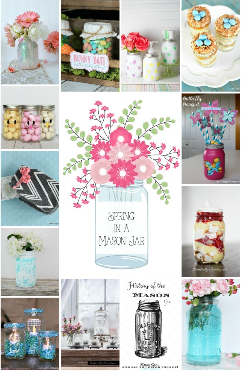 14 must see spring mason jar ideas! Love how affordable mason jars are, lots of decor and dessert ideas! Click through for lots of spring inspiration!