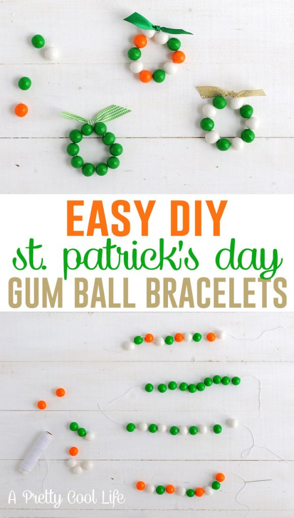 St. Patrick's Day gumball bracelets |A Pretty Cool Life