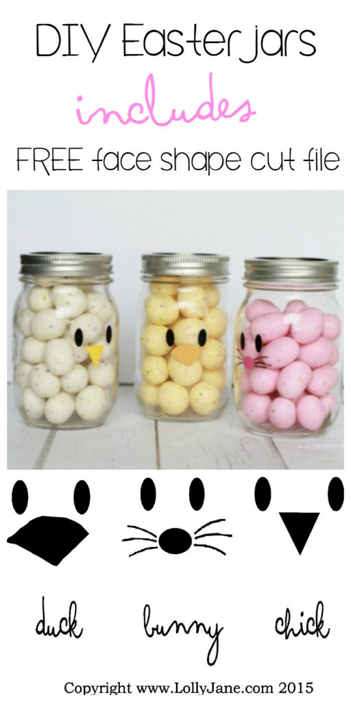 Adorable and EASY mason jar idea! Apply little faces to clear mason jars and fill with colorful candies to make quick Easter mason jar craft favors! Sooo cute! BONUS: free face cut shapes included!