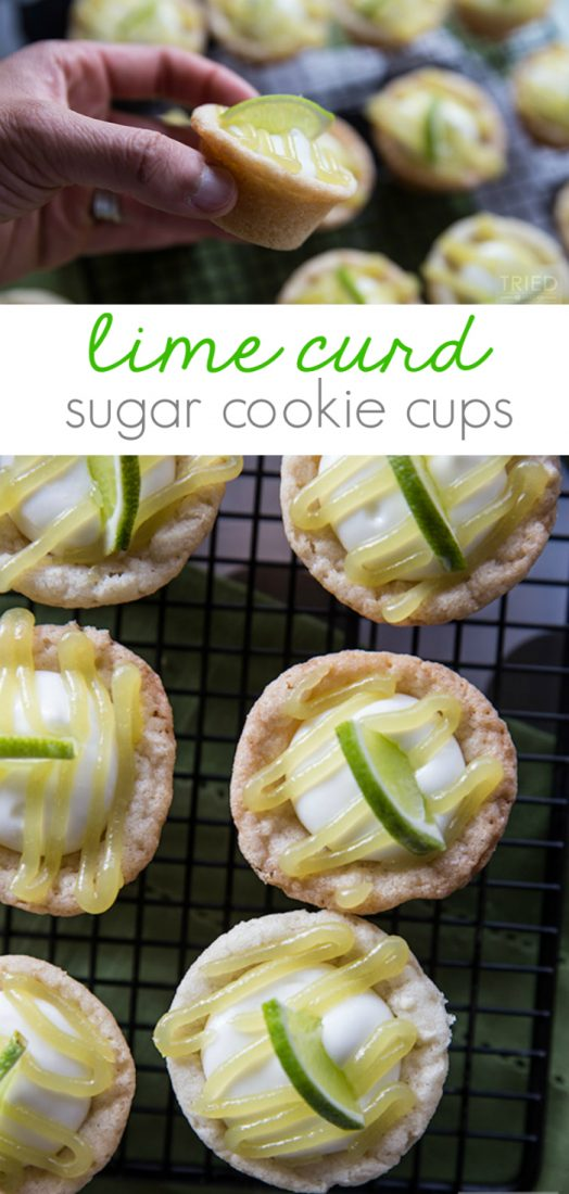 lHoly YUM! These lime curd sugar cookie cups are sooo good!! What a fun family treat or great neighbor gift idea! Yummy spring dessert or great Easter dessert idea!