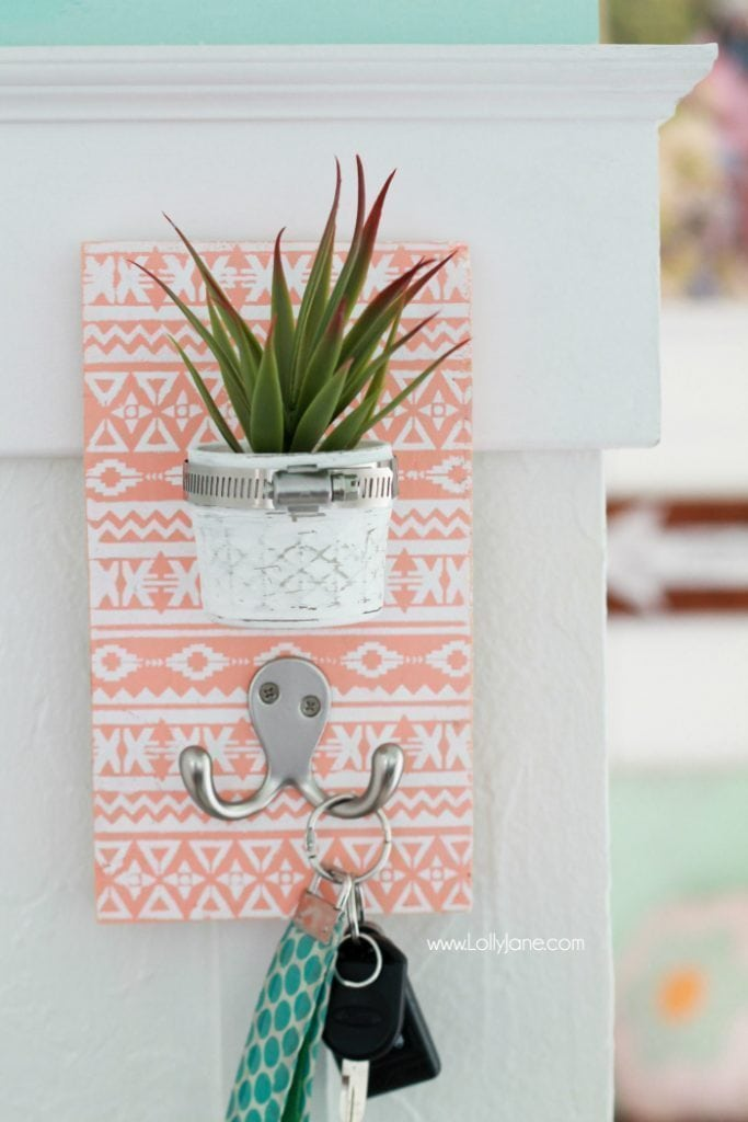 DIY Succulent Key Holder. Love the stenciled aztec pattern!