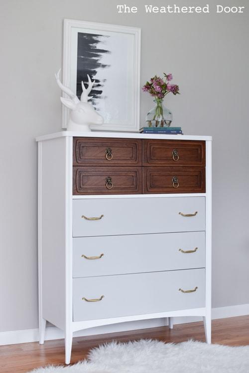 mid century tallboy dresser makeover. Black Bedroom Furniture Sets. Home Design Ideas