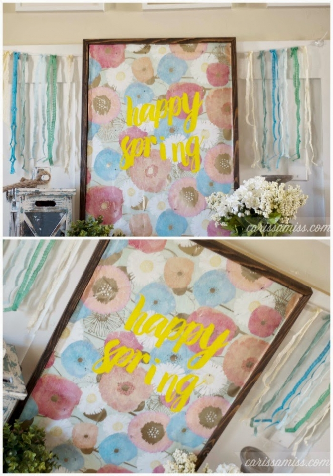 Happy Spring art, come see how easy it is to brighten up your home for spring! We love this DIY Happy Spring sign, cute Easter decor idea!