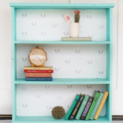 antler stamped bookcase makeover