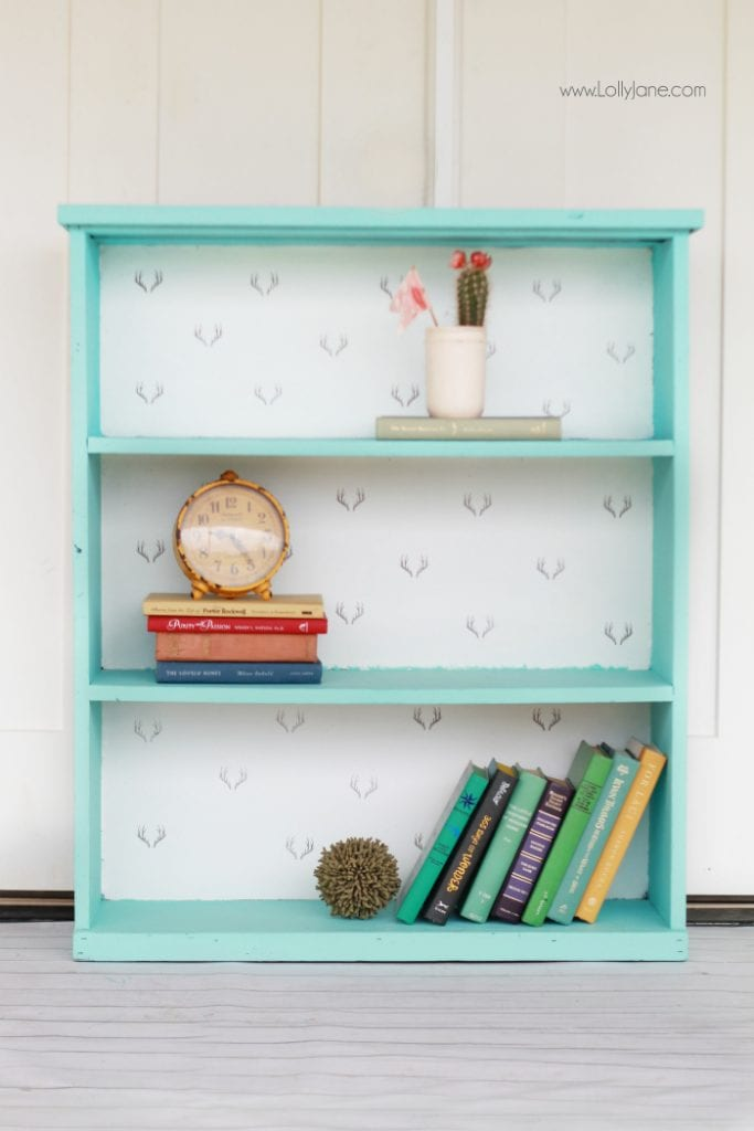antler stamped bookcase makeover