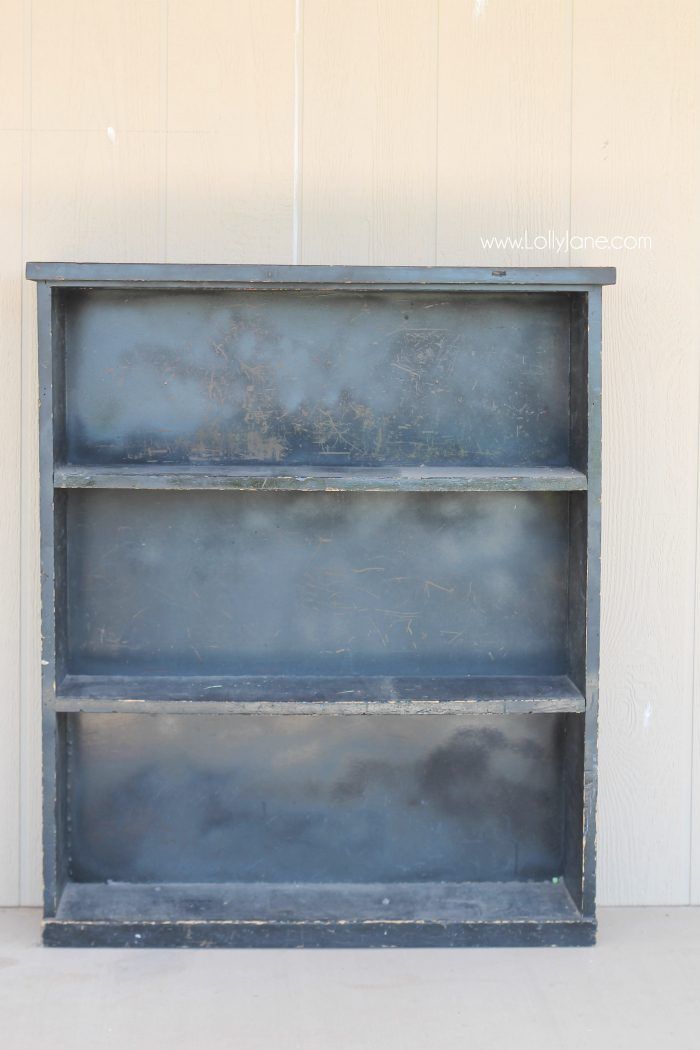This old spray painted bookcase got a fresh coat of chalk paint and stamped backing, it looks amazing! CLICK through to the gorgeous after reveal!