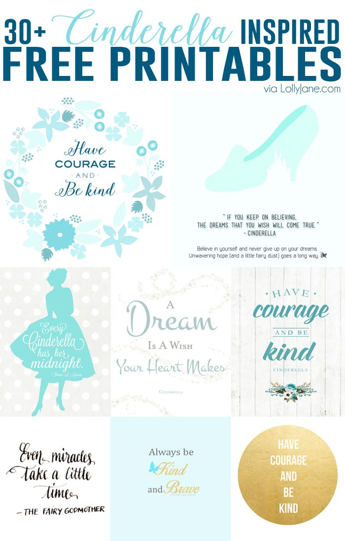 30+ FREE Cinderella Inspired Printables
