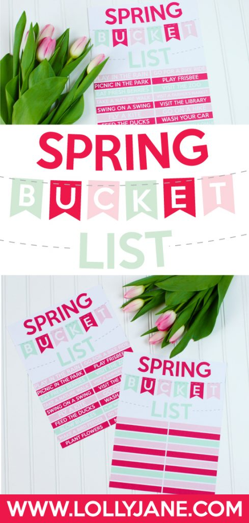 FREE Spring Bucket List Printable. Just print and enjoy! |via Paperelli