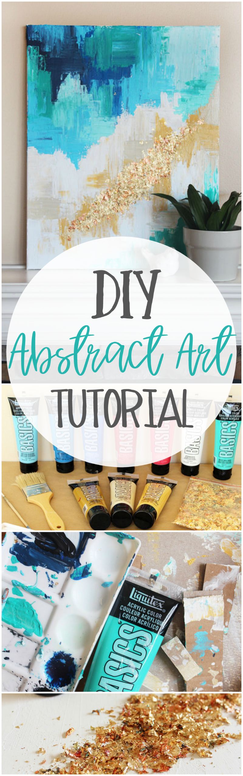DIY Abstract Art Tutorial. Learn How To Paint An Abstract Painting With Acrylic Paints And A Step By Step Tutorial. Easy Beginner Level Abstrac