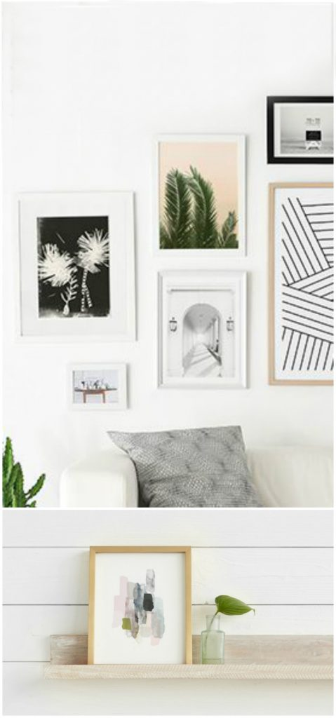 DIY Abstract Art | Love this gallery wall to display your art. Such stylish frames!