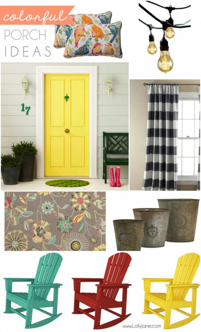 Colorful porch ideas mood board PLUS...bloggers, win $1200! Maker Mood Board Contest with Porch & ATGStores.com